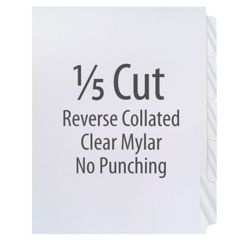 1/5 Cut Copier Tabs [Reverse Collated, Mylar, 90#] (1250 Tabs)