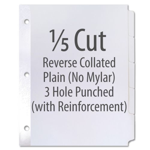 1/5 Cut Copier Tabs [Reverse Collated, No Mylar, 110# Index, 3-Hole w/ Reinforced Edge] (1250 Tabs) I(NOTE: MADE-TO-ORDER, REQUIRES 5 BUSINESS DAYS + TRANSIT TIME. ALL SALES FINAL/NON-RETURNABLE.)