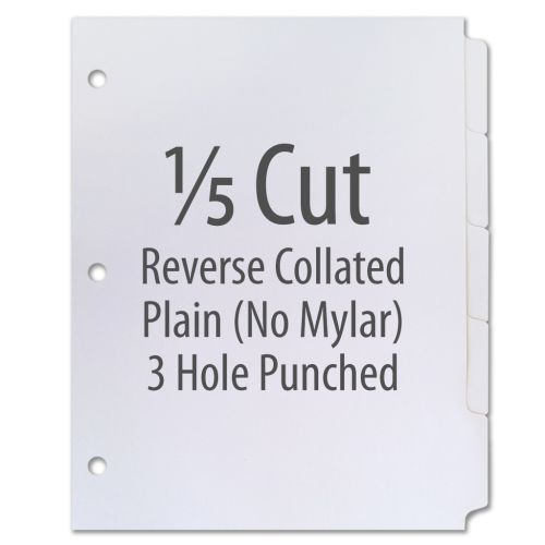1/5 Cut Copier Tabs [Reverse Collated, No Mylar, 110#, 3-Hole] (1250 Tabs)