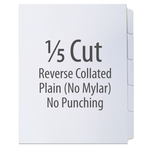 1/5 Cut Copier Tabs [Reverse Collated, No Mylar, 110#] (1250 Tabs)