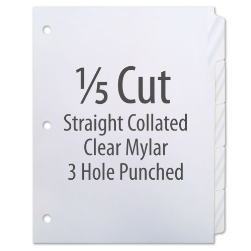 1/5 Cut Copier Tabs [Straight Collated, Mylar, 3-Hole] (1250 Tabs)