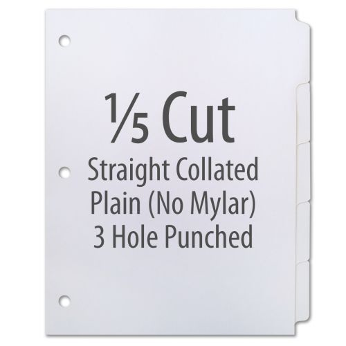 1/5 Cut Copier Tabs [Straight Collated, No Mylar, 3-Hole, 90#] (1250 Tabs)
