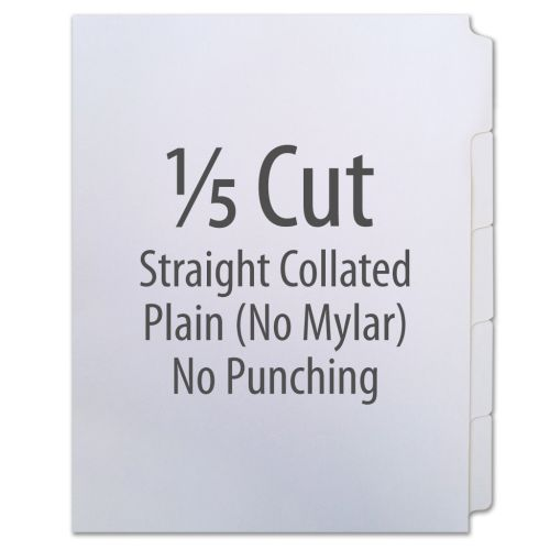 1/5 Cut Copier Tabs [Straight Collated, No Mylar, 90#] (1250 Tabs)