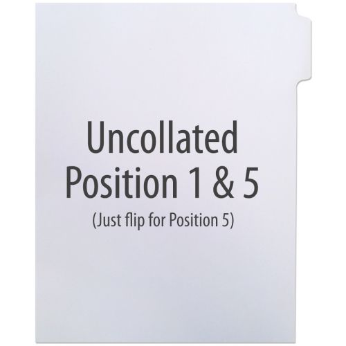1/5 Cut Copier Tabs [Uncollated, Pos. 2 & 4, No Mylar, 110# Index] (250 Tabs) Item#10110PS4WH (NOTE: MADE-TO-ORDER, REQUIRES 5 BUSINESS DAYS + TRANSIT TIME. ALL SALES FINAL/NON-RETURNABLE.)
