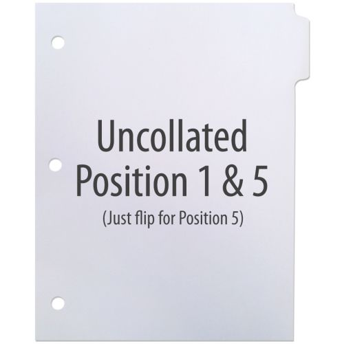 1/5 Cut Copier Tabs [Uncollated, Pos. 1 & 5, No Mylar, 3-Hole] (250 Tabs) Item#10POSI1W3H