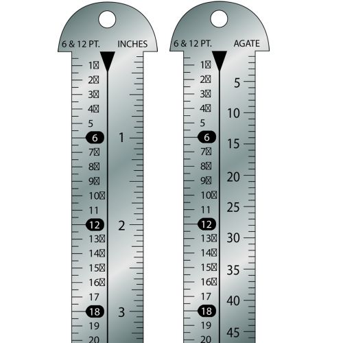 "Style 612-12 Stainless Steel 12"" Gaebel Line Gauge [6 & 12 Pt / Inches, 6 & 12 Pt / Agate]"