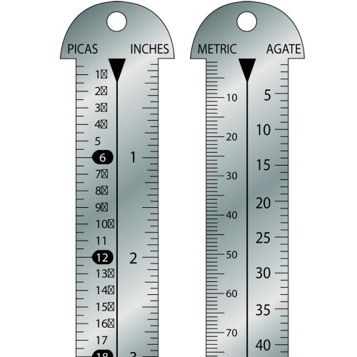 """Style 612E-12 Stainless Steel 12"""" Gaebel Line Gauge [Pica & Inches / Centimeter & Agate]"""