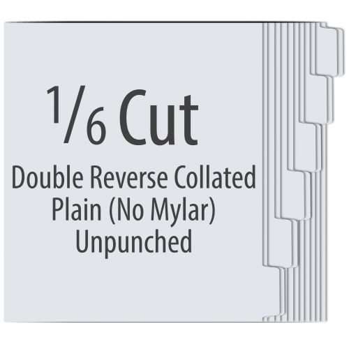 1/6 Cut Double Reverse Copier Tabs with No Mylar