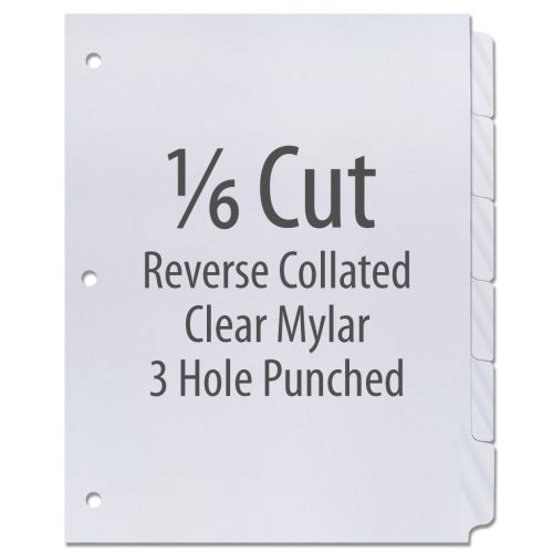 1/6 Cut Copier Tabs [Reverse Collated, Mylar, 3-Hole] (1260 Tabs)