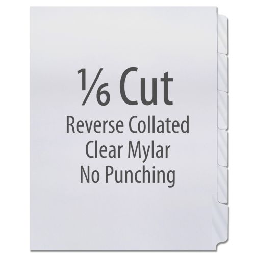 1/6 Cut Copier Tabs [Reverse Collated, Mylar] (1260 Tabs)
