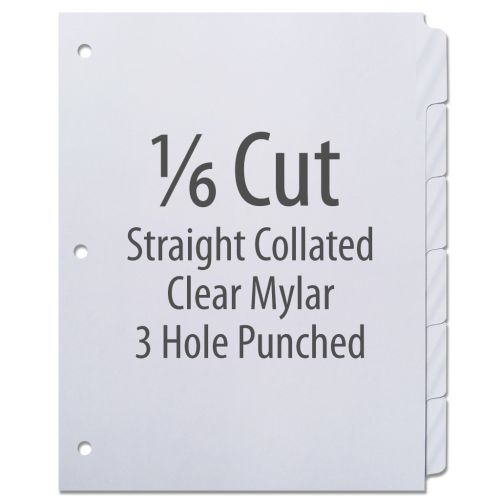 1/6 Cut Copier Tabs [Straight Collated, Mylar, 3-Hole] (1260 Tabs)