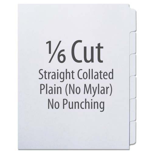 1/6 Cut Copier Tabs [Straight Collated, No Mylar] (1248 Tabs)