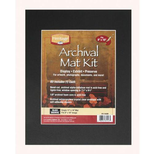 "11"" x 14"" Archival Black Pre-Cut Mat Board Kit (Single Layer) With 7.5"" x 9.5"" Window Image 1"