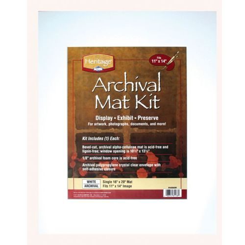 """16"""" x 20"""" Archival White Pre-Cut Mat Board Kit (Double Layer) With 10.5"""" x 13.5"""" Window Image 1"""