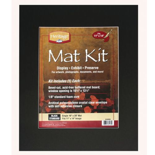"16"" x 20"" Archival Black Pre-Cut Mat Board Kit (Single Layer) With 10.5"" x 13.5"" Window"