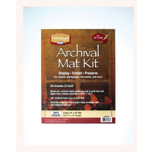"""16"""" x 20"""" Archival White Pre-Cut Mat Board Kit (Single Layer) With 10.5"""" x 13.5"""" Window Image 1"""