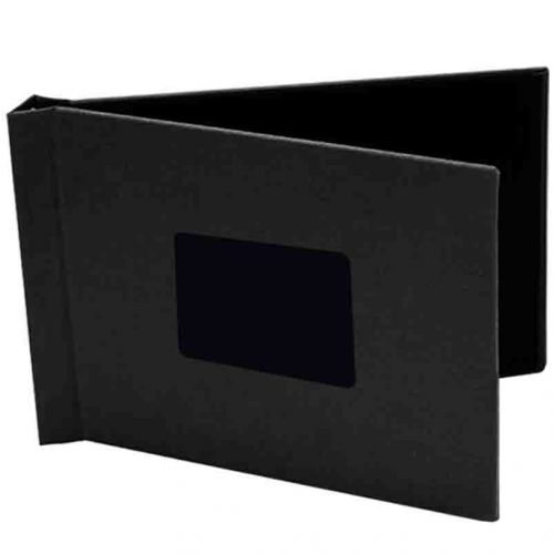 "8"" x 12"" Landscape Black Cloth Pinchbook Hard Cover Photo Books with Window (5 Pack)"