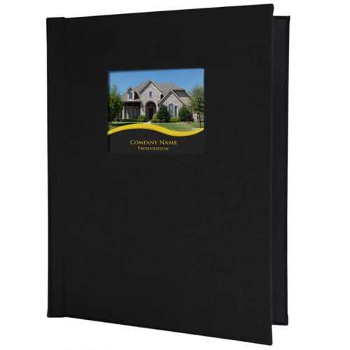 """8.5"""" x 11.75"""" Portrait Black Faux Leather Pinchbook Hard Cover Photo Books with Window (5 Pack)"""
