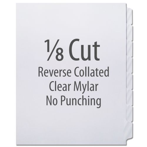 1/8 Cut Copier Tabs [Reverse Collated, Mylar] (1280 Tabs)