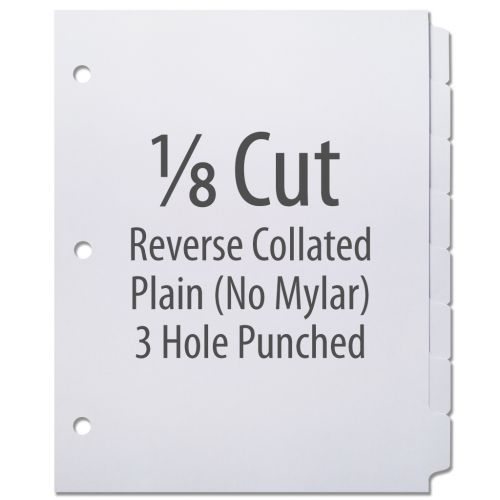 1/8 Cut Copier Tabs [Reverse Collated, No Mylar, 3-Hole] (1280 Tabs)