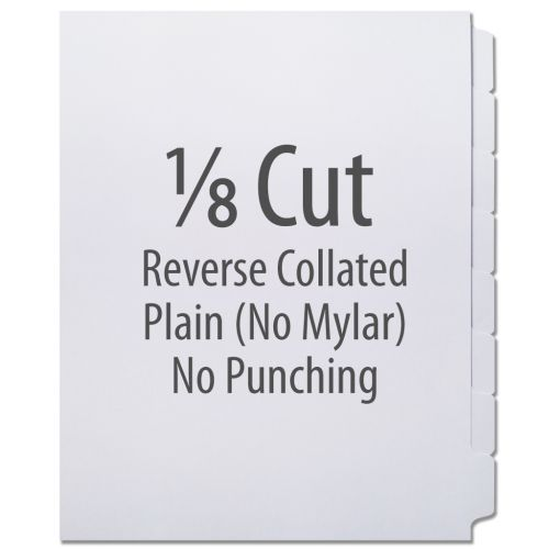 1/8 Cut Copier Tabs [Reverse Collated, No Mylar] (1280 Tabs)