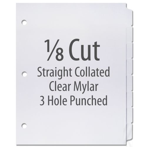 1/8 Cut Copier Tabs [Straight Collated, Mylar, 3-Hole] (1280 Tabs)
