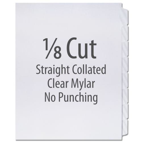 1/8 Cut Copier Tabs [Straight Collated, Mylar] (1280 Tabs)