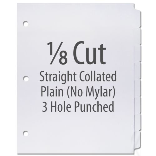 1/8 Cut Copier Tabs [Straight Collated, No Mylar, 3-Hole] (1280 Tabs)