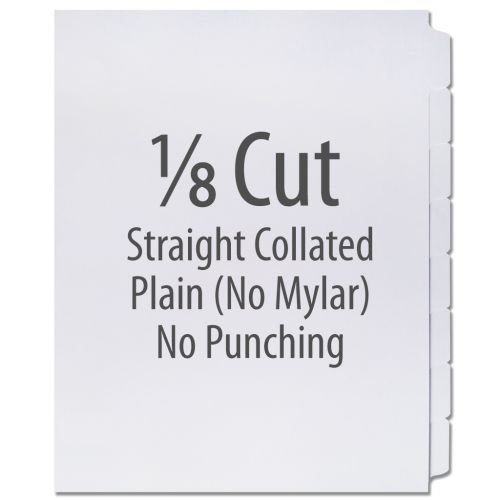 1/8 Cut Copier Tabs [Straight Collated, No Mylar] (1280 Tabs)