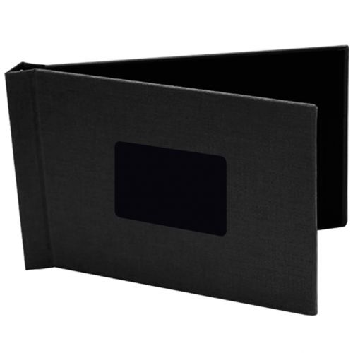 """8.5"""" x 11.75"""" Landscape Black Faux Leather Pinchbook Hard Cover Photo Books (5 Pack)"""
