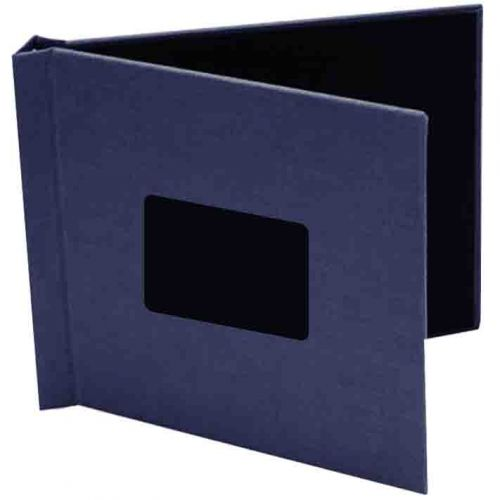 """8"""" x 8"""" Navy Cloth Pinchbook Hard Cover Photo Books with Window (5 Pack)"""