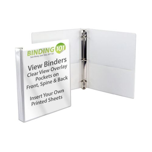 """1-1/2"""" White Half Size Mini View Binder (Each-Order in Increments of 24)"""