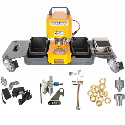#1 CSTIDY-41 Grommet Press Kit with Mobile Cart [Includes: Die, 500 Brass Grommets, EyeLED, FRL, & Sniper] Image 1