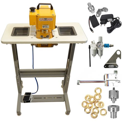#3 CSTIDY-41 Grommet Press Kit with Adjustable Work Table [Includes: Die, 500 Brass Grommets, EyeLED, FRL, & Sniper] Image 1
