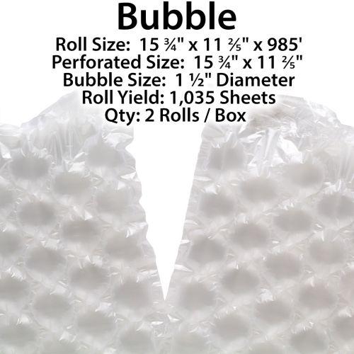 "Bubble 1.5"" Diameter Air Packaging Film [15.75"" x 11.4"" x 985'] (2 Rolls) - Clearance Sale"
