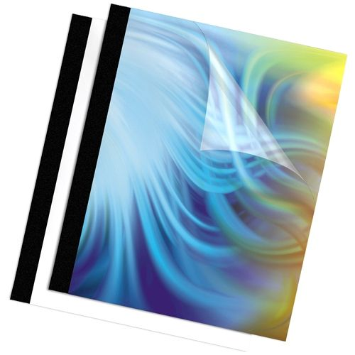 """Fellowes 1/8"""" Thermal Binding Covers [Clear Front/Black Linen Back] - Pack of 10 Image 1"""