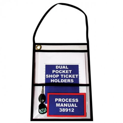 "9"" x 12"" Black Trim 2-Pocket Job Ticket Holders [Short Side Open, With Strap] (15/Pk) Item#37STIDUAL912BK"
