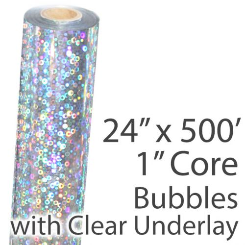 """24"""" x 500' Holographic Foil Roll with 1"""" Core [Bubbles, Transparent Underlay] (1 Roll) Item#02FFHFTP158"""