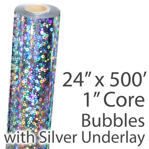 """24"""" x 500' Holographic Foil Roll with 1"""" Core [Bubbles, Silver Underlay] (1 Roll) Item#02FFSP15824"""