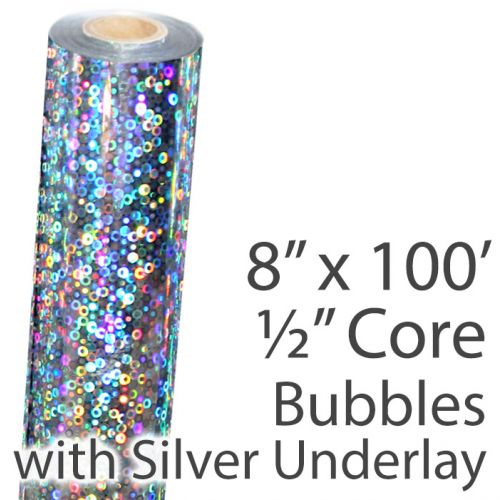 """8"""" x 100' Holographic Foil Roll with 1/2"""" Core [Bubbles, Silver Underlay] (1 Roll) Item#02FFSP158"""