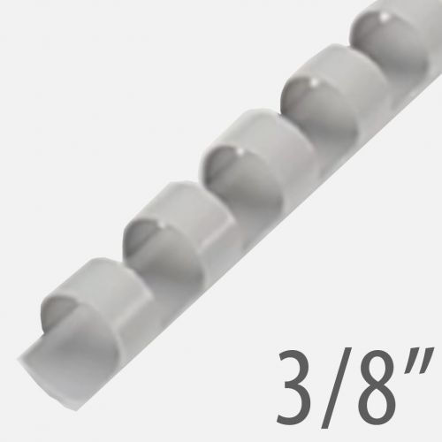 "3/8"" Gray Plastic Binding Combs (100/Bx) Item#13038GRAY"
