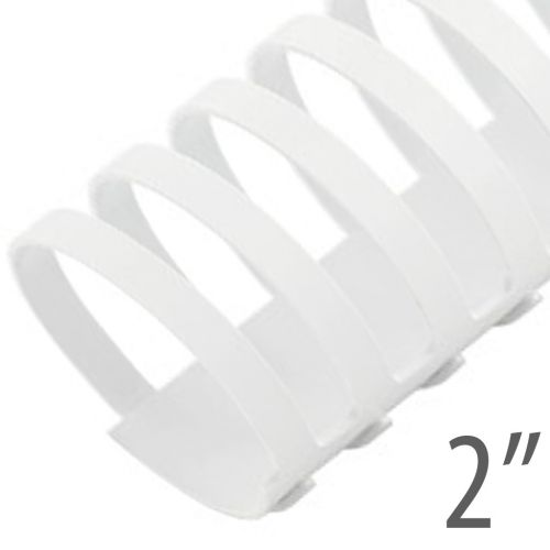 "2"" White Plastic Binding Combs (50/Bx) Item#13200WHITE"