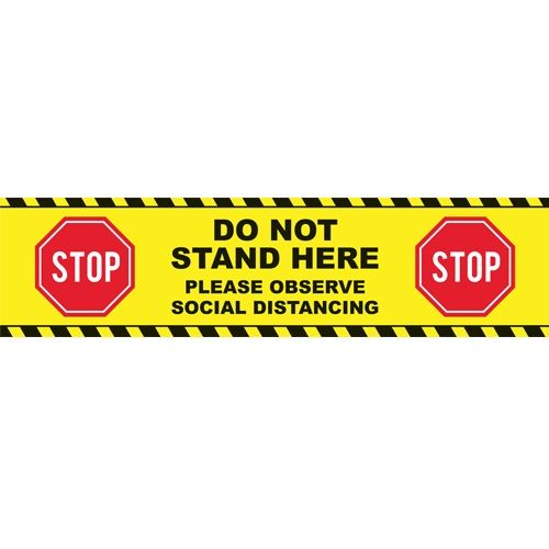 "Stop - Do Not Stand Here Social Distancing Floor Graphic 48"" x 12"" Rectangle - Pack of 50 Image 1"