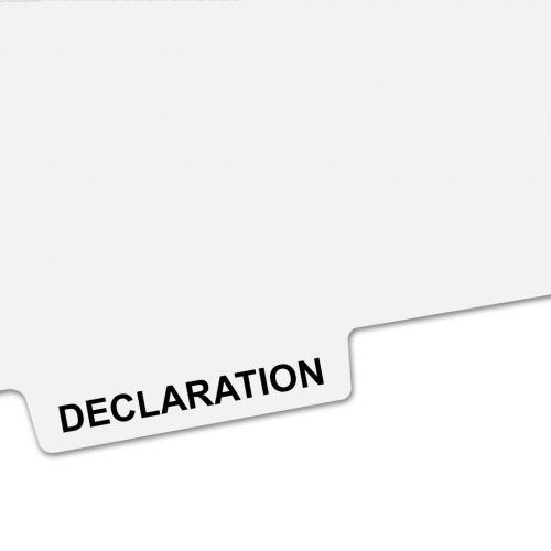 DECLARATION Bottom Avery Style Tabs - Legal Index Dividers