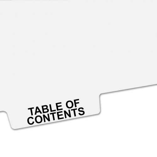 TABLE OF CONTENTS Bottom Avery Style Tabs - Legal Index Dividers