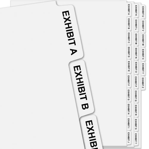 """""""EXHIBIT A"""" - """"EXHIBIT Z"""" Collated Avery Style Side Letter Tabs (26/pk)"""