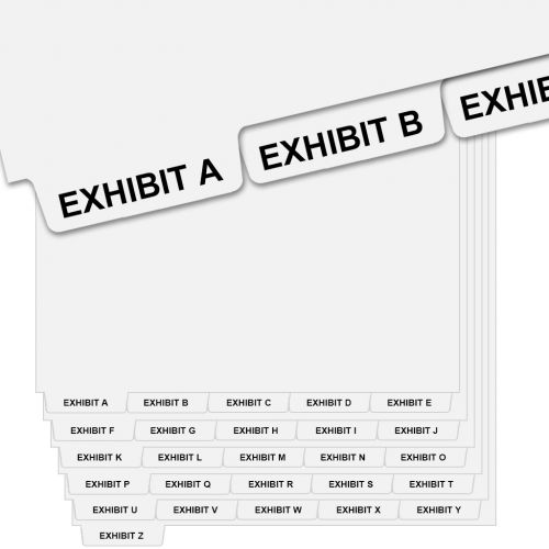 """""""EXHIBIT A"""" - """"EXHIBIT Z"""" Collated Avery Style Bottom Letter Tabs (26/pk)"""