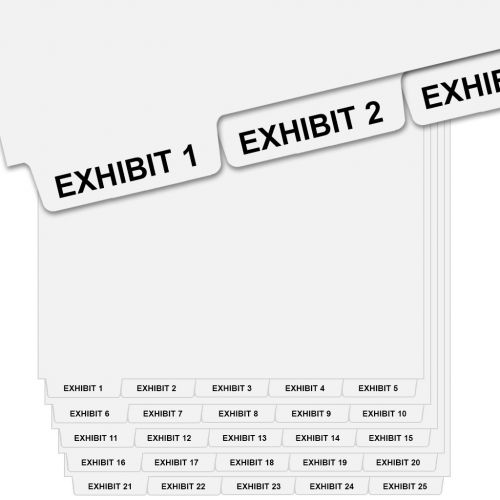 EXHIBIT 1 - EXHIBIT 25 Bottom Tab Dividers, Avery Style, 1/5 Cut 5-Bank Set