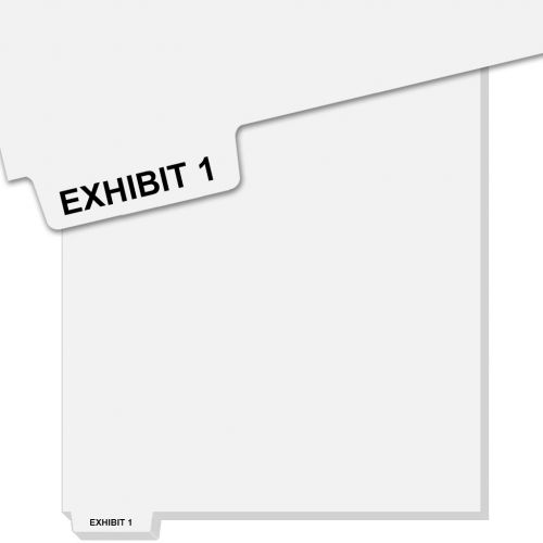 EXHIBIT 1 Uncollated Pre-Printed Bottom Avery Index Tab Dividers - Exhibit Number