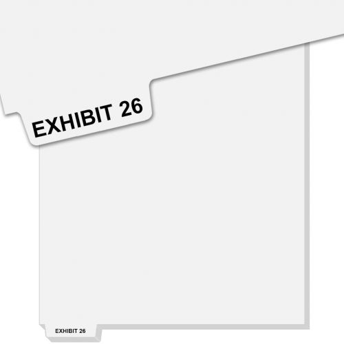 EXHIBIT 26 Uncollated Bottom Avery Index Tab Dividers